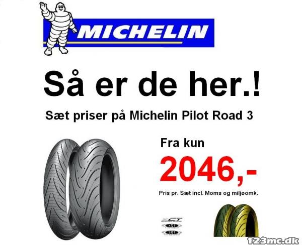 Michelin Pilot Road 3 2CT til salg - 123mc